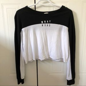 White and Black Garage Long Sleeve Crop Top
